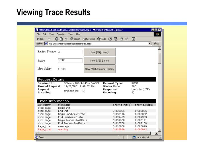 Viewing Trace Results