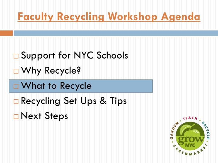 Faculty Recycling Workshop Agenda