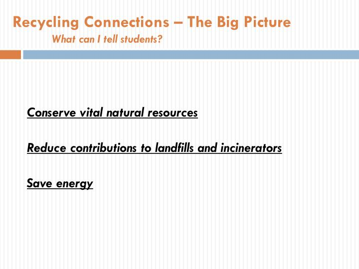 Recycling Connections – The Big Picture