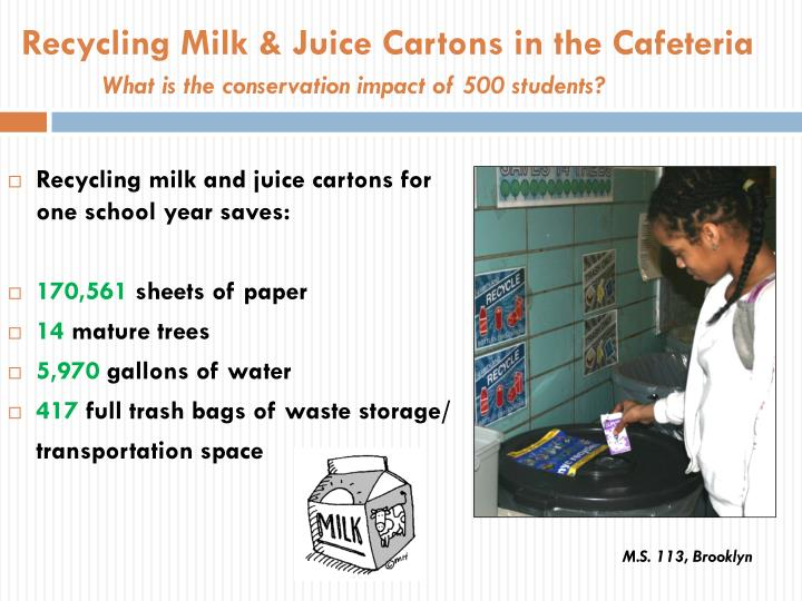 Recycling Milk & Juice Cartons in the Cafeteria
