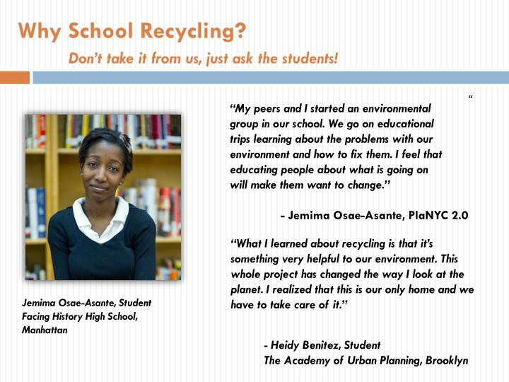 Why School Recycling?