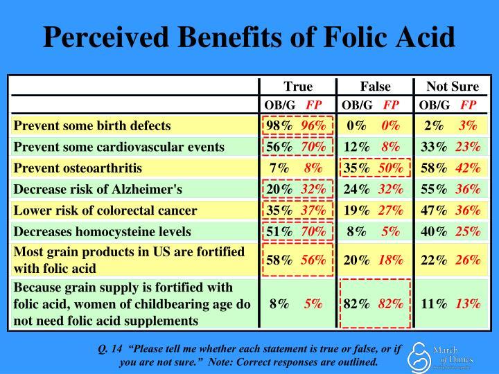 Perceived Benefits of Folic Acid