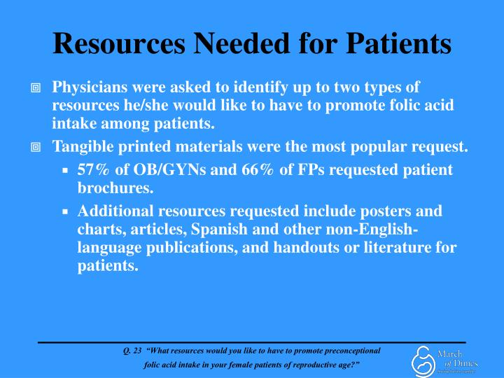 Resources Needed for Patients