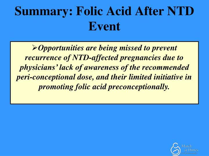 Summary: Folic Acid After NTD Event