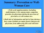 summary prevention or well woman care