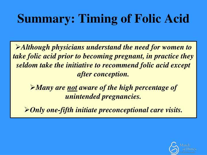 Summary: Timing of Folic Acid