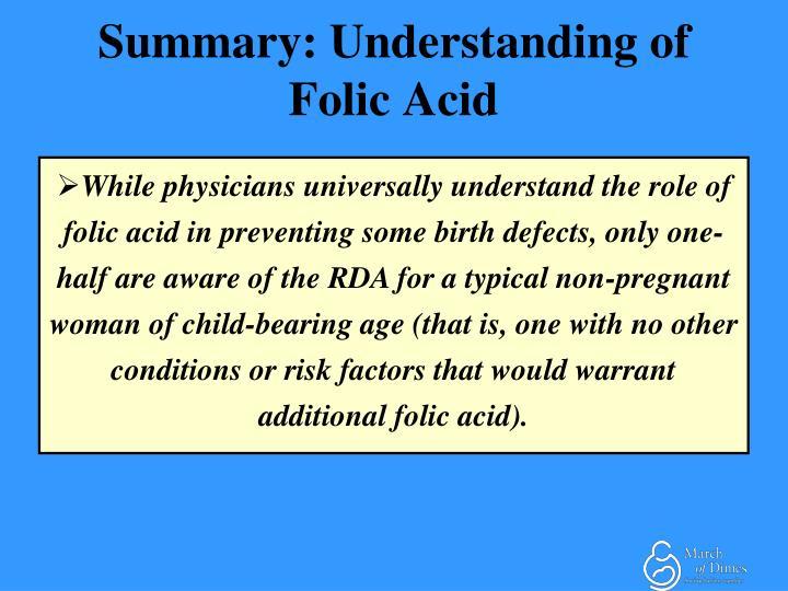 Summary: Understanding of Folic Acid