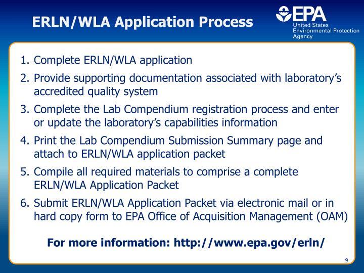 ERLN/WLA Application Process
