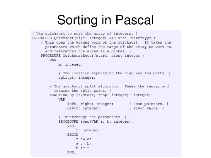 Sorting in Pascal