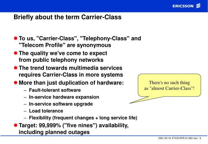 Briefly about the term Carrier-Class