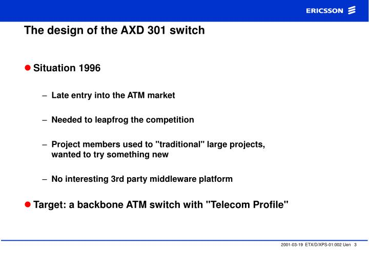 The design of the axd 301 switch