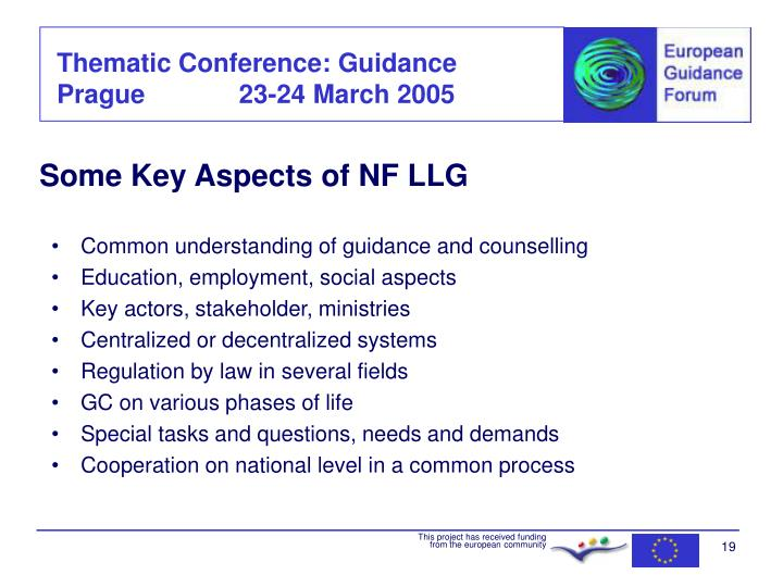 Some Key Aspects of NF LLG