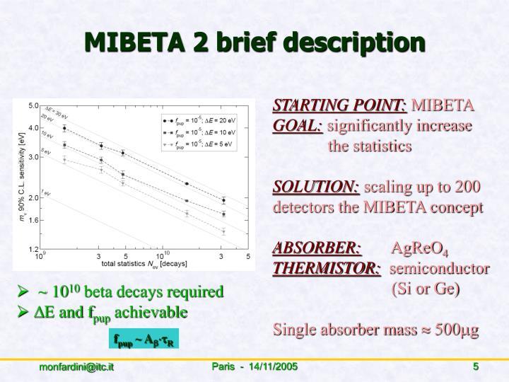 MIBETA 2 brief description