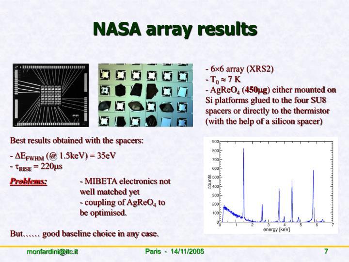 NASA array results