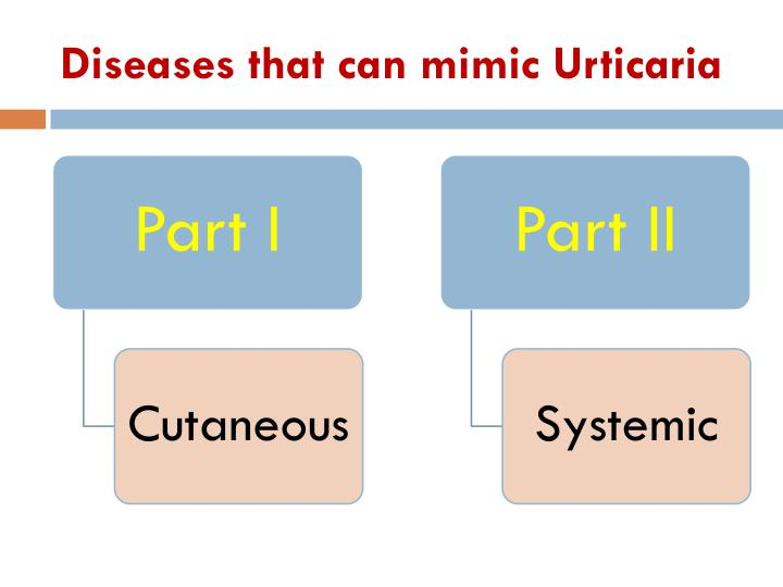Diseases that can mimic Urticaria