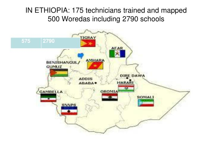 IN ETHIOPIA: 175 technicians trained and mapped 500 Woredas including 2790 schools