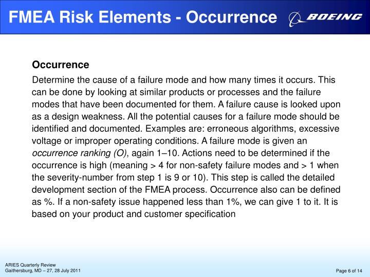 FMEA Risk Elements - Occurrence