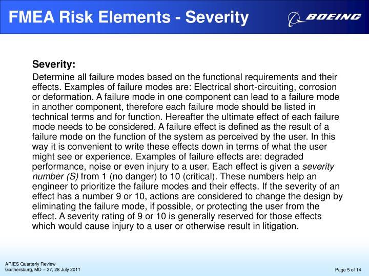 FMEA Risk Elements - Severity
