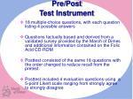 pre post test instrument