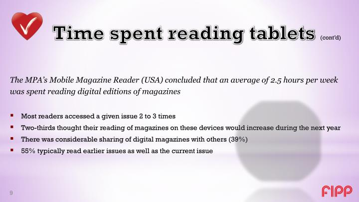 Time spent reading tablets
