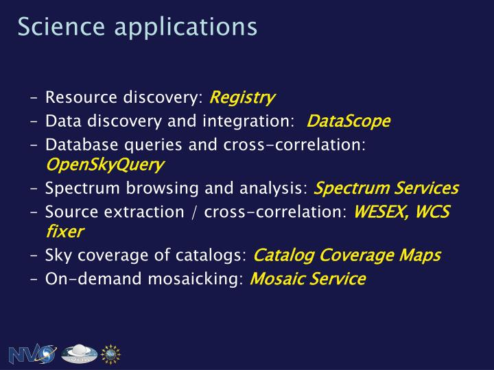 Science applications