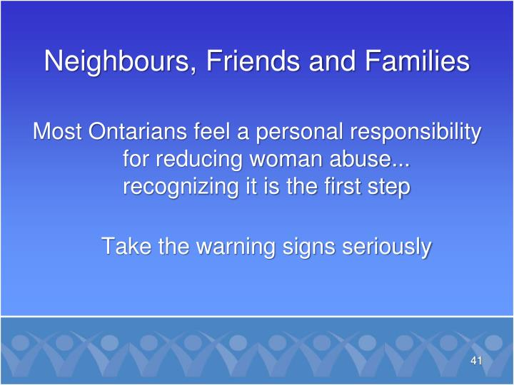 Most Ontarians feel a personal responsibility for reducing woman abuse...