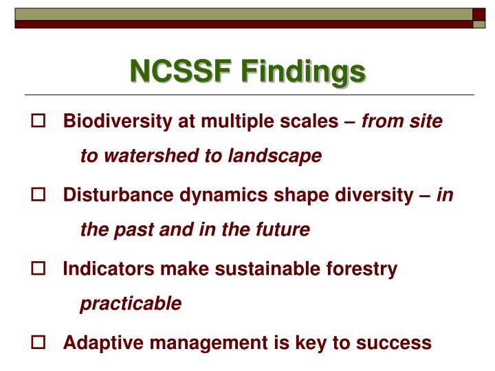 NCSSF Findings