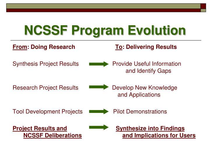 NCSSF Program Evolution