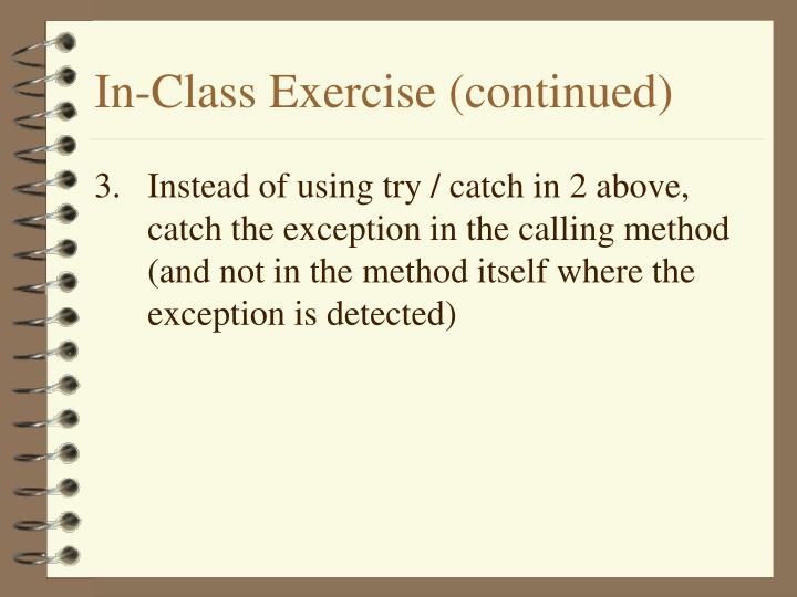 In-Class Exercise (continued)