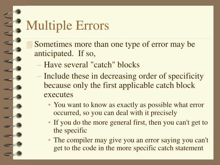 Multiple Errors