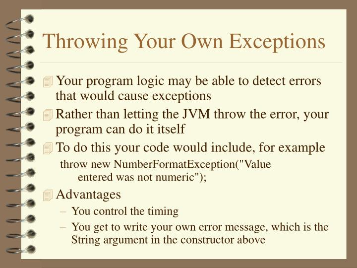 Throwing Your Own Exceptions