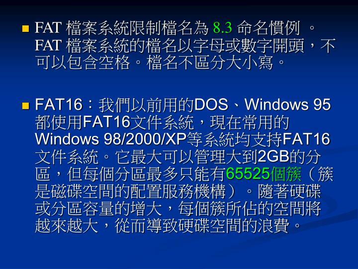 FAT 檔案系統限制檔名為
