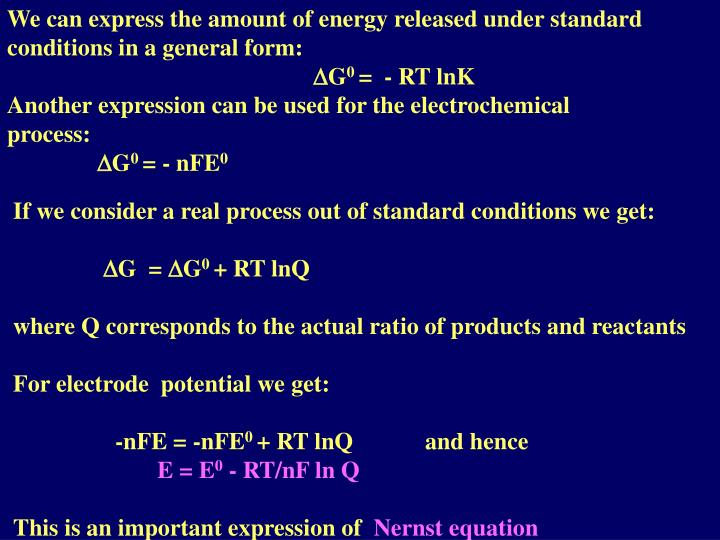 We can express the amount of energy released under standard