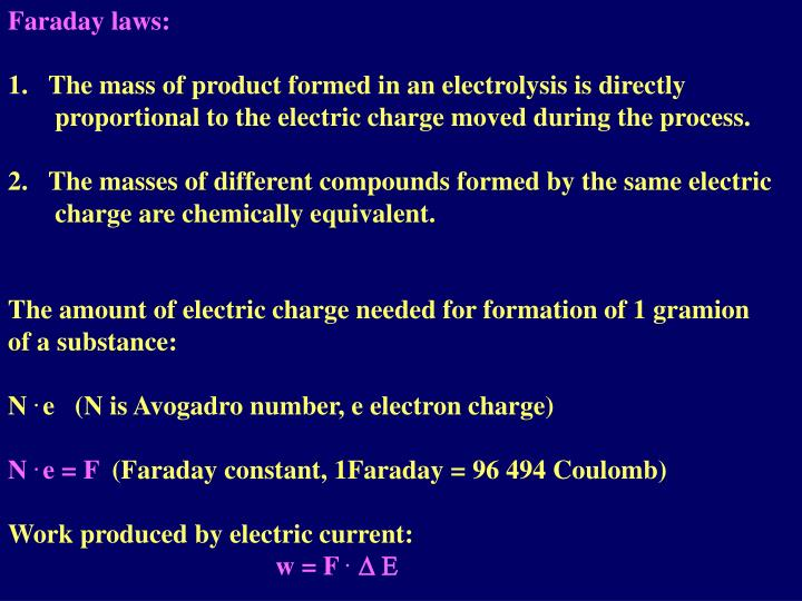 Faraday laws: