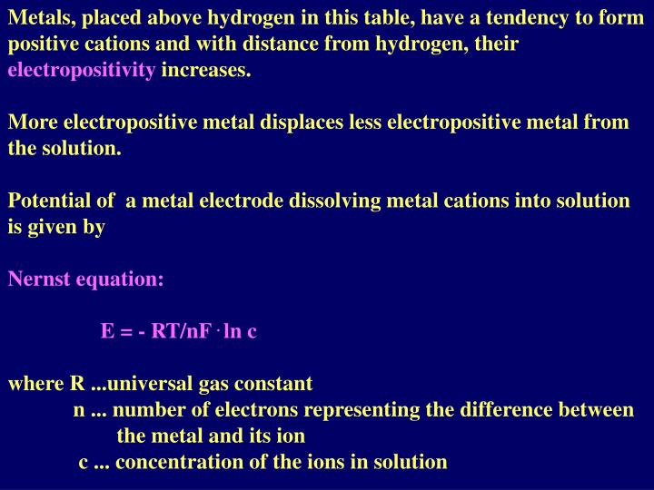 Metals, placed above hydrogen in this table, have a tendency to form