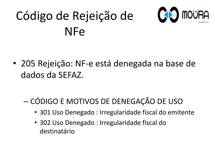 Código de Rejeição de NFe