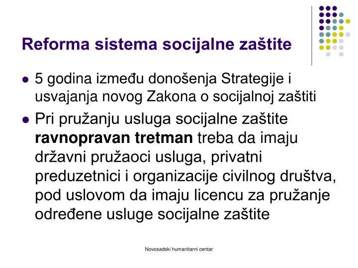 Reforma sistema socijalne zaštite