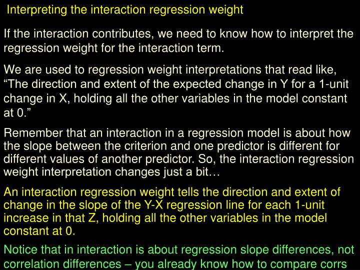 Interpreting the interaction regression weight