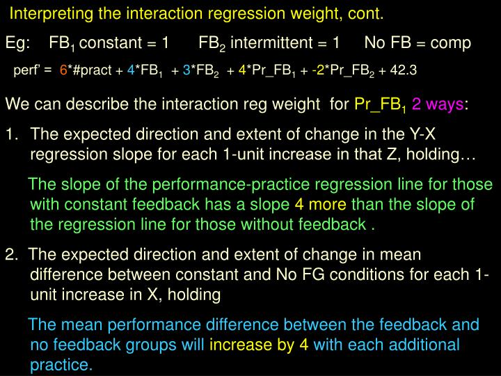 Interpreting the interaction regression weight, cont.
