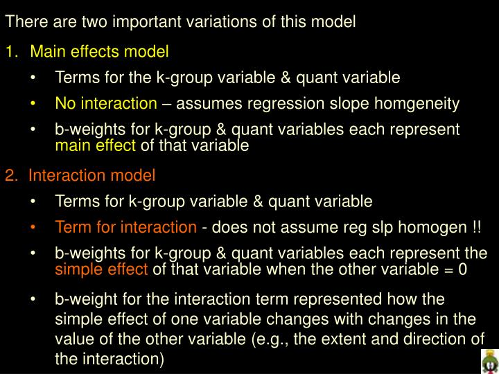 There are two important variations of this model