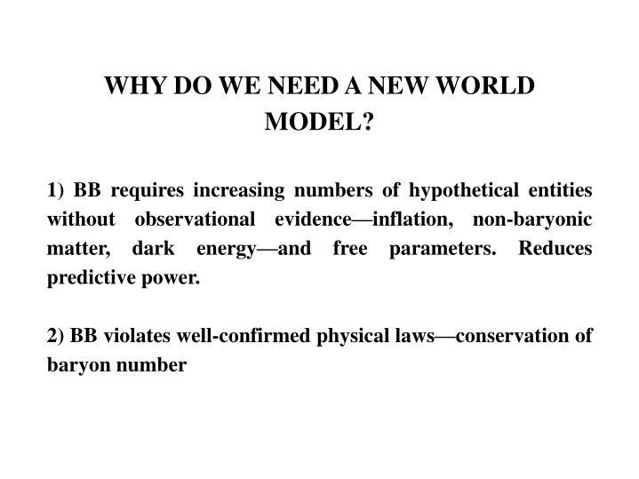WHY DO WE NEED A NEW WORLD MODEL?