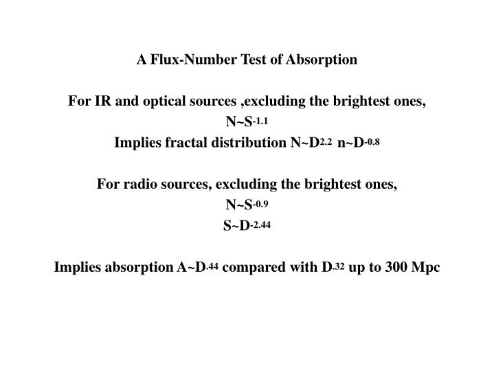 A Flux-Number Test of Absorption