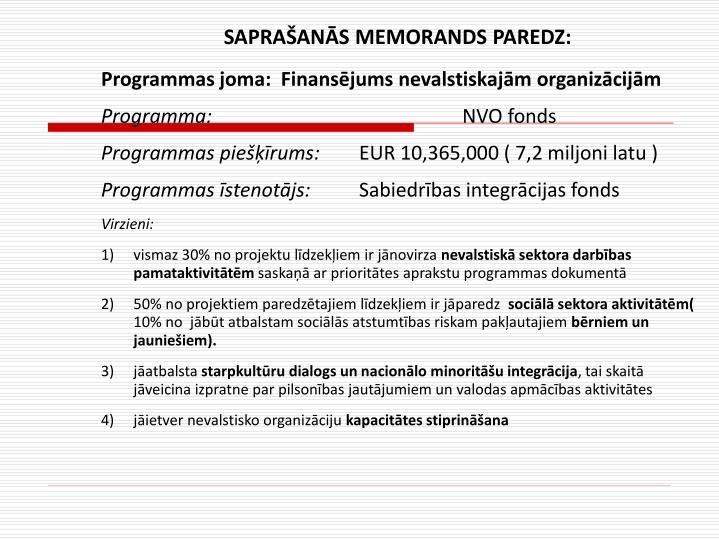 SAPRAŠANĀS MEMORANDS PAREDZ:
