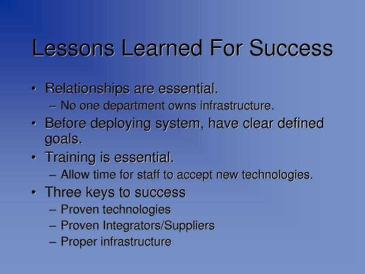 Lessons Learned For Success
