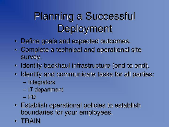 Planning a Successful Deployment