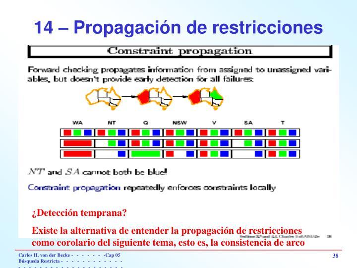 14 – Propagación de restricciones