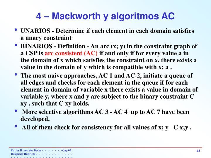 4 – Mackworth y algoritmos AC