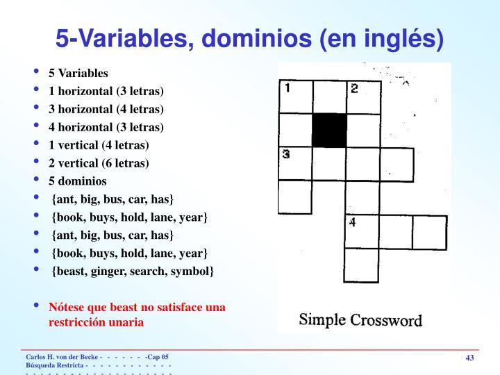 5-Variables, dominios (en inglés)