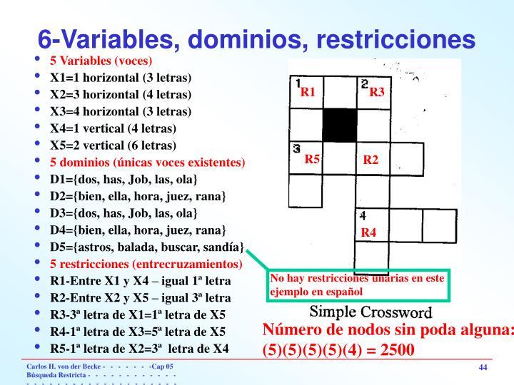6-Variables, dominios, restricciones
