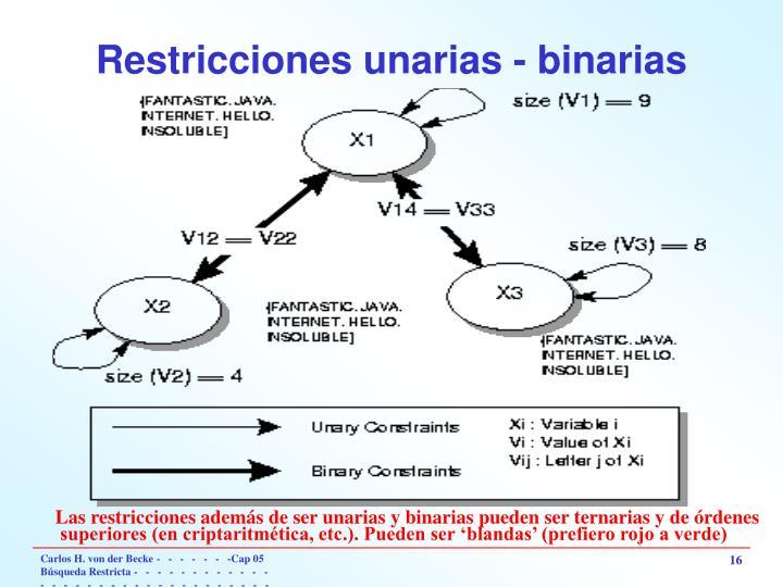 Restricciones unarias - binarias